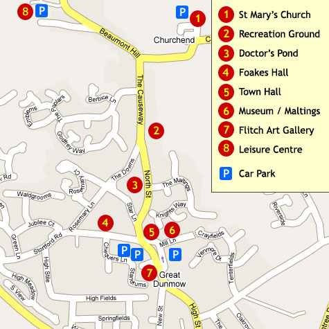 Map showing places of interest in Great Dunmow in Essex